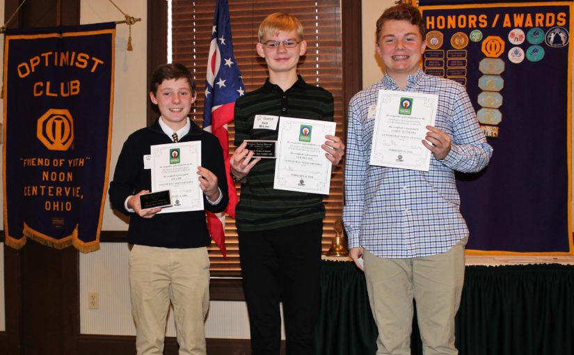 Noon Meeting News – February 6, 2018 – Boys Oratorical Contest